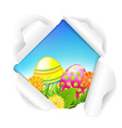 Torn Paper With Flowers And Color Eggs vector image