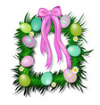 wreath of grass and flowers with easter eggs vector image