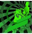 green girl dj and banner vector image