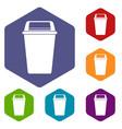 plastic flip lid bin icons set hexagon vector image