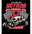 Hot rod auto custom shop badge vector image