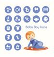 baby boy crawling and icons set vector image