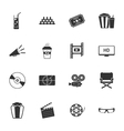 Cinema black and white flat icons set vector image