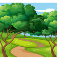 Park scene with trail and trees vector image