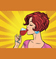 woman drinking red wine vector image