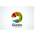 Globe with arrow logo template vector image vector image