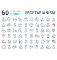 Set Flat Line Icons Vegetarianism vector image