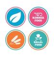Natural food icons Halal and Kosher signs vector image