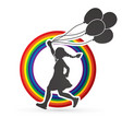 little girl running with balloons graphic vector image