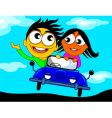 riding in a car vector image
