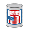 Canned birthplace Patriotic canned Part of vector image