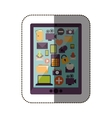 color sticker with tablet with screen icons vector image
