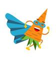 cute cartoon smiling carrot superhero in mask and vector image