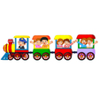 Happy kids on a colorful train vector image