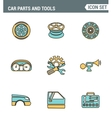 Icons line set premium quality of car parts tools vector image