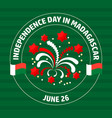 madagascar independence day label on green vector image