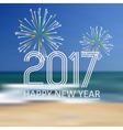 happy new year 2017 on blue beach like abstract vector image