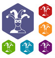 jester icons set vector image