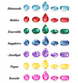 seven sets of gems vector image