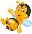 Cute little bee cartoon waving hand vector image