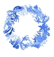 Blue Sea life Vintage Round Frame with Fish and vector image