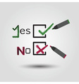 check mark and cross symbols in check boxes icons vector image
