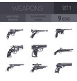 firearm set guns pistols revolvers flat design vector image