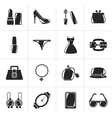 Black Female Fashion objects and accessories icons vector image