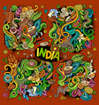 doodle cartoon set of indian designs vector image