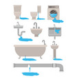 colorful set of bathroom interior objects with vector image