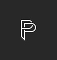 P letter monogram logo black and white mockup vector image