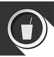 black icon with drink and straw - stylized shadow vector image