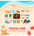 Seaside beach and tourist things vector image vector image