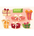 Collection of colorful gift boxes bows and ribbon vector image