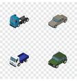 isometric car set of armored lorry truck and vector image