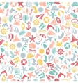 seamless pattern summer travel icons vector image