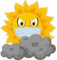 sun cartoon with medical mask vector image