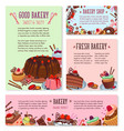 desserts and cakes for bakery menu template vector image