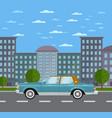classic retro sedan in urban landscape vector image
