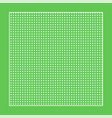 checkered green fabric with white circles and a vector image