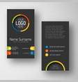 Modern dark vertical business card template with vector image