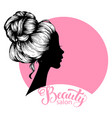 woman beautiful silhouette with hair style vector image