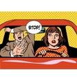 stop woman driver driving school panic calm vector image