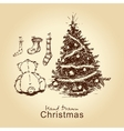 teddy and christmas tree vector image