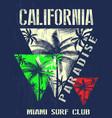 california miami summer t shirt graphic design vector image