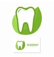 dental logo with green leaves symbol vector image