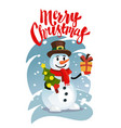 happy snowman in red scarf with gift vector image