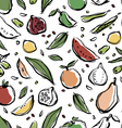 pattern on fresh fruit and vegetables vector image