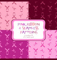 seamless patterns with pink ribbon vector image