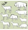 Set of monochrome wild and domestic animals for de vector image